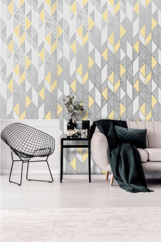 Graham and Brown Milan Geo Yellow 106533 Wallpaper